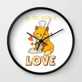 Cute & Funny All You Knead Is Love Cat Kneading Wall Clock