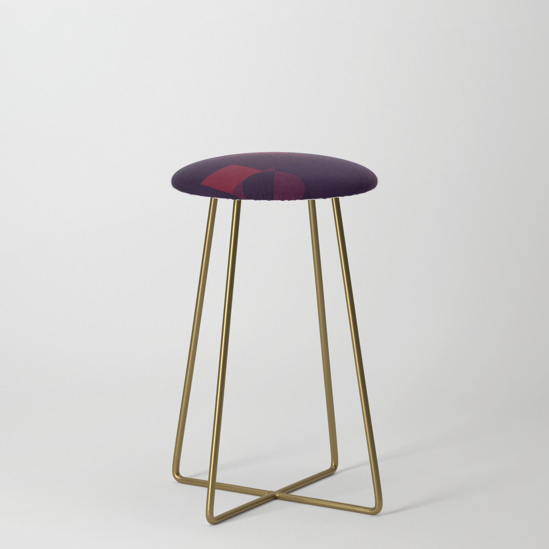 Maroon Bauhaus Counter Stool By