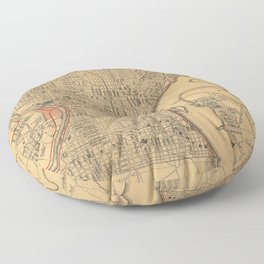 Vintage Map of Philadelphia Pennsylvania (1857) Floor Pillow