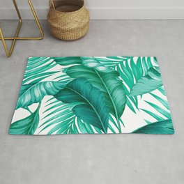 HAWAIIAN GARDEN TROPICAL LEAVES | turquoise white Rug