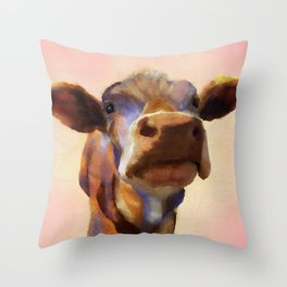 Cora the cow, cow art, cow, farm, animal Throw Pillow