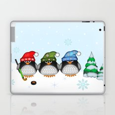 Cute Hockey Penguins in Snowy Winter landscape Laptop & iPad Skin