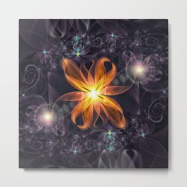 Beautiful Orange Star Lily Fractal Flower at Night Metal Print