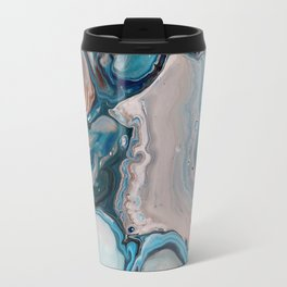 Blue Abstract Acrylic Painting - Fluid Technique  - Close-Up Travel Mug