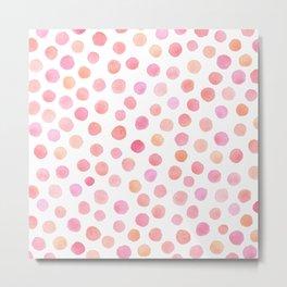 pink and peach watercolor dots Metal Print