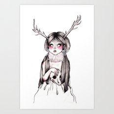 Princess Cervidae (With Color) Art Print
