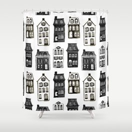 Mansard Mansions in Black + White Watercolor Shower Curtain