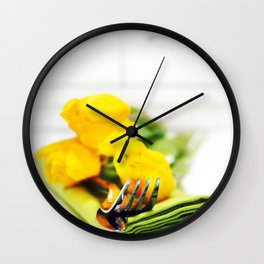 spring table settings with fresh tulips Wall Clock