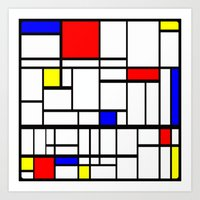mondrian Art Prints featuring Mondrian inspired by Steve W Schwartz Art