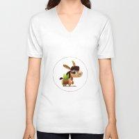 donkey V-neck T-shirts featuring Donkey by Jose Campa