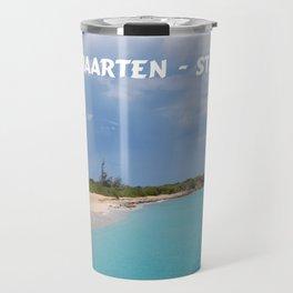 Tropical sandy beach of Sint Maarten - St. Martin Travel Mug