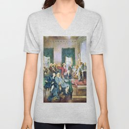 Howard Chandler Christy - Scene at the Signing of the Constitution of the United States - Digital Remastered Edition Unisex V-Neck