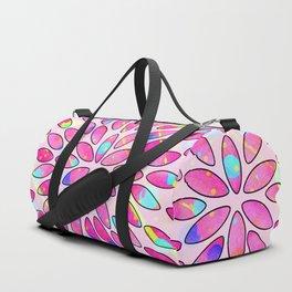 Pop Pink Splash Flower Leaves Pattern Duffle Bag