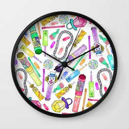 Neon 80's 90's Retro Funny Candy Pattern Wall Clock