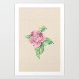Rose cross stitch Art Print