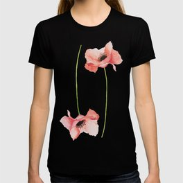 Paired Poppy Watercolor Flowers T-shirt