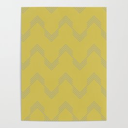 Simply Deconstructed Chevron Retro Gray on Mod Yellow Poster
