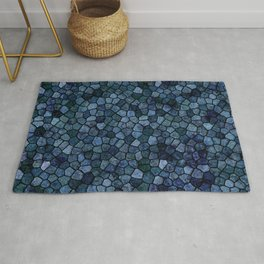 Blue Lagoon Midnight Rippled Water Abstract Rug