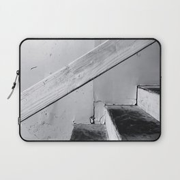 wood stairway with wood background in black and white Laptop Sleeve