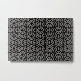 Pantone Pewter and Black Rings Circle Heaven, Overlapping Ring Design Metal Print