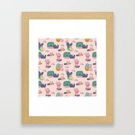 Kawaii cats and cactus Framed Art Print