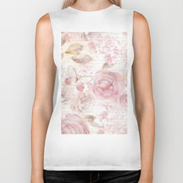 Vintage pastel pink brown butterfly floral typography Biker Tank