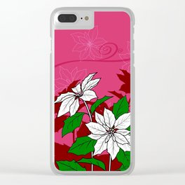 Christmas White Poinsettia Flowers with Red Accents Clear iPhone Case
