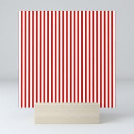 Red & White Maritime Vertical Small Stripes - Mix & Match with Simplicity of Life Mini Art Print