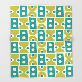 Funky Mid Century Modern Pattern 773 Turquoise and Chartreuse Throw Blanket