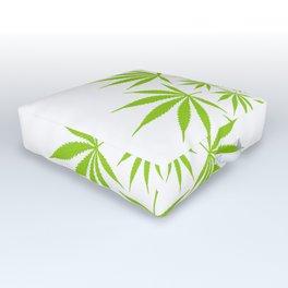 Cannabis Leaf Circle (White) Outdoor Floor Cushion