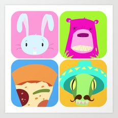 Floating BunnyHead Pop Square Art Print