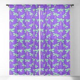 Pretty lovely stylish delicate gorgeous green dragonflies elegant purple art nouveau pattern Sheer Curtain