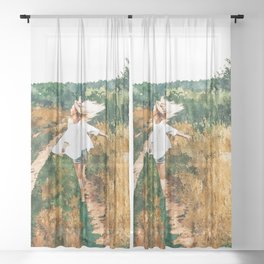 Free Spirit || #painting #nature Sheer Curtain