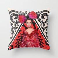 kardashian Throw Pillows featuring Queen of Hearts by Sara Eshak