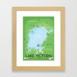 Lake Victoria Map Framed Art Print