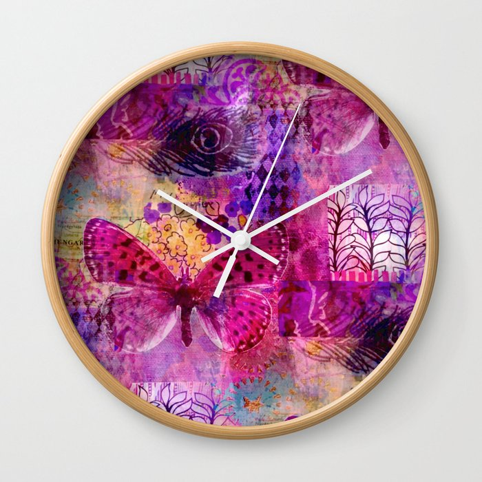 Butterflies Dream In Pink Wall Clock