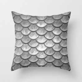 Abstract modern metallic silver mermaid pattern Throw Pillow