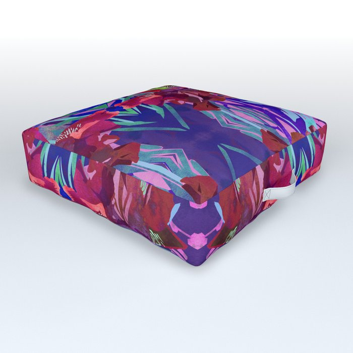 Watercolor Iris Flower with Shadows - Red & Violet Outdoor Floor Cushion
