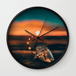 Note in a Bottle Sunset (Color) Wall Clock
