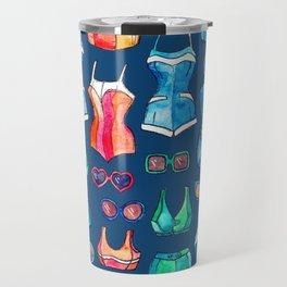 Sixties Swimsuits and Sunnies on dark blue Travel Mug