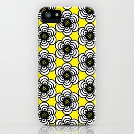 Yellow and Black Flowers iPhone Case