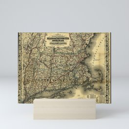 Vintage Map of Southern New England: Connecticut, Rhode Island, and Massachusetts Mini Art Print