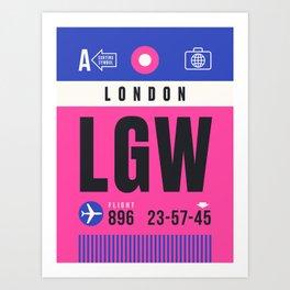 Luggage Tag A - LGW London England UK Kunstdrucke