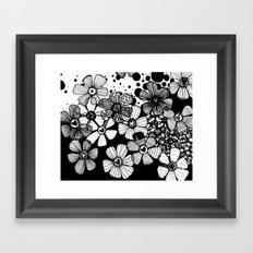 Black and White Abstract Flowers Framed Art Print