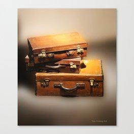 Vintage leather Suitcases Canvas Print