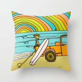 Retro Surf Days Single Fin Pick Up Truck Throw Pillow