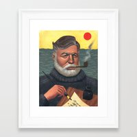 hemingway Framed Art Prints featuring Hemingway by Houston Trueblood