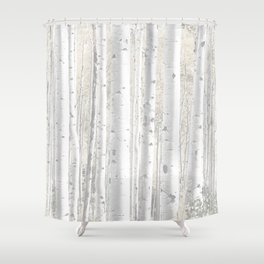 Pale Birch Trees Shower Curtain