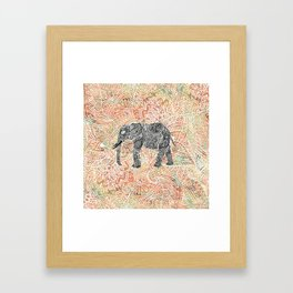 Tribal Paisley Elephant Colorful Henna Floral Pattern Framed Art Print