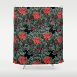 Christmas Floral pattern Shower Curtain